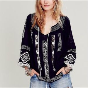 Free People Silver Springs Embroidered Top Small